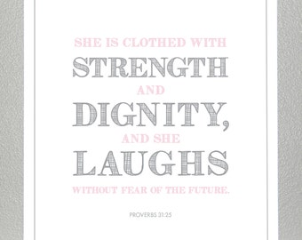 christening gifts - Proverbs 31:25  - Print