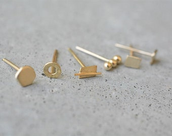 Solid gold stud earrings, mix and match earrings, 14k gold stud earrings, 14k tiny gold stud earrings, yellow gold stud earrings, minimalist