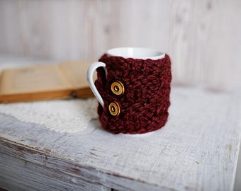 Marsala Cable Knit Cup Cosy, Bordeaux Sweater Knitted Mug Cozy, Knit Mug Warmer, Knitted Coffee Sleeve