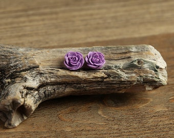 Purple (15) 13mm Dainty Resin Rose Cabochons CF1027