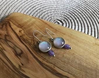 Vintage Sterling Silver Quartz Earrings