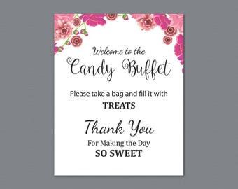 Candy Buffet Sign, Printable Candy Bar Sign, Pink Flowers Wedding Table Sign, Grab a Treat Sign, Baby Shower, Bridal Shower Decor, A005