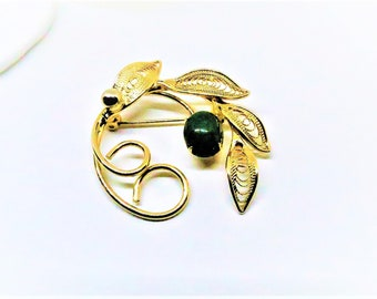 Jade Brooch - Vintage, Gold Filled, Green Jade Pin