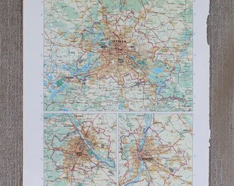 City Map Berlin, Vienna, Budapest Original Print