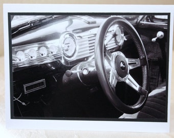 Photo card, vintage steering wheel. 1948 Chevy Sedan