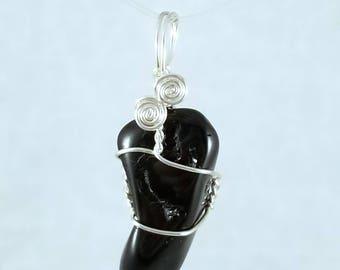 Black tourmaline tumbled silver filled pendant