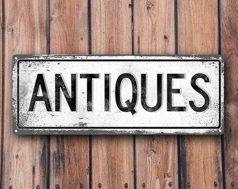 ANTIQUES Metal Street Sign, Vintage, Retro   MEM2000