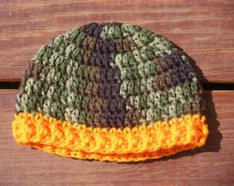 Camo Hunter Hat, Camouflage Beanie, Baby Hat, Infant Camoflauge, Photo Prop, Newborn Cap, Baby Boy Hat, Baby Girl Hat, Hunter Prop