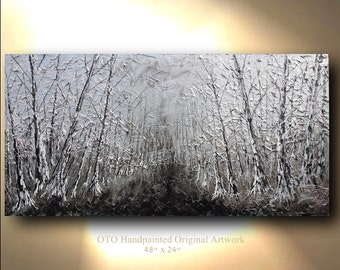 Original Tree Painting metallic silver landscape forest Abstract Paintings Canvas Art Oil Painting Wall Decor reflective Artwork by OTO