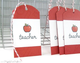 Teacher, end school year, tag, teacher appreciation, Teacher gift, Gift for Teacher, School Tag, Apple Tag, Teacher Thank you, educater gift