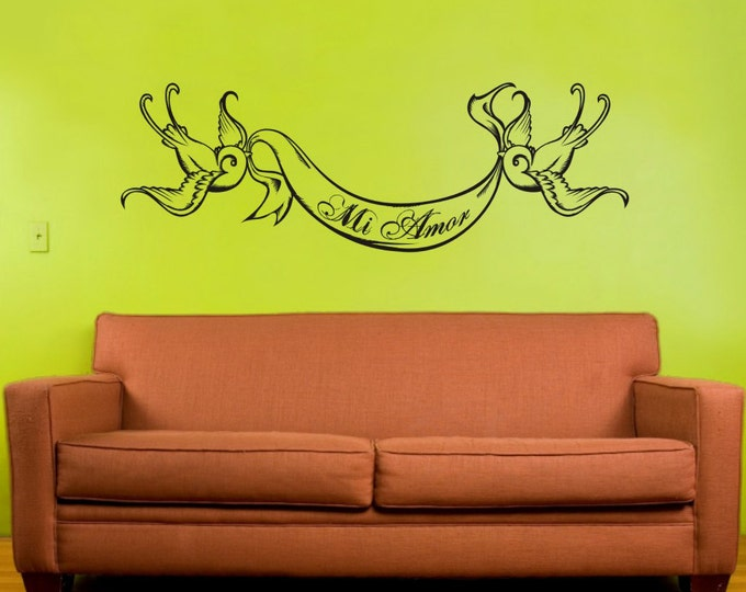 swallow tattoo vinyl wall decal, wall decor custom banner, nursery wall decal, sticker art, FREE SHIPPING