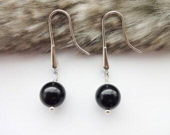 Black Obsidian Earrings, Dangle Earrings, Black Earrings, Minimal Earrings, Gemstone Earrings, Silver Earrings, Wife Gift, Gift for her