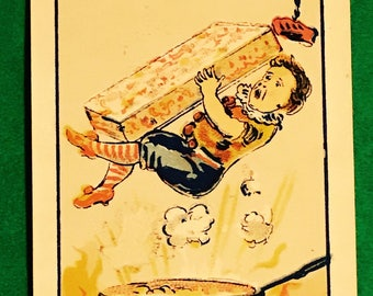 Victorian Trade Card 1800s, Little Boy Falling Into Frying Pan, Harinton, Williamsport, Antique Paper Collectible