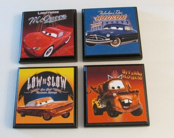 Cars Room Wall Plaques - Set of 4 Cars Boys Room Decor - Cars Wall Signs - Set #2 - Lightning McQueen Tow Mater Hudson Low and Slow