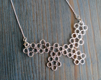 Molecule. Versatile Shiny Sterling Silver Lace Pendant Necklace No. 2. Fine Jewelry. Inspired By Science. Handmade Silver Bib Necklace.
