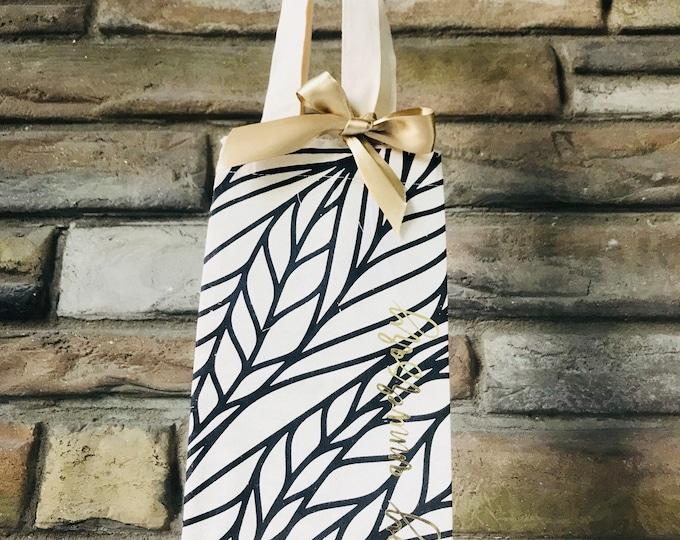 Botanical Print Cotton Canvas Wine Gift Bag - Happy Anniversary