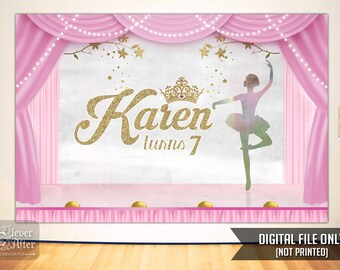 Ballerina Backdrop Ballet theater background princess birthday party dance recital banner pink gold stage swan lake poster printable sign