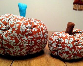 Floral pumpkin, fabric pumpkin, aqua pumpkin, pumpkin decor, fall decor, pumpkin home decor, pumpkin ornament, teacher gift, shelf sitter
