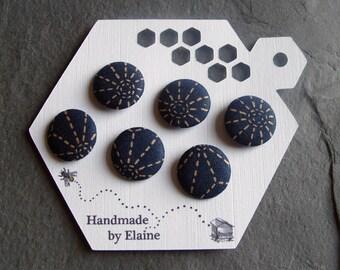 Fabric Covered Buttons - 6 x 19mm Buttons, Handmade Button,Navy Dark Blue Beige Taupe Ecru Dash Japanese Hexagon Sun Star Burst Buttons 2446