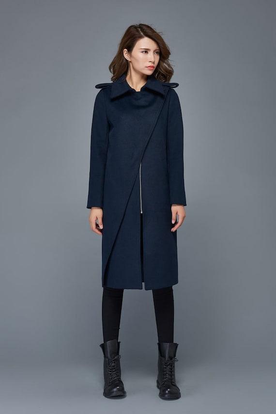 winter coats for women navy blue wool coat mid length coat. Black Bedroom Furniture Sets. Home Design Ideas