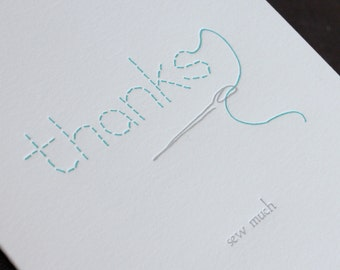 Thanks Sew Much - letterpress greeting card
