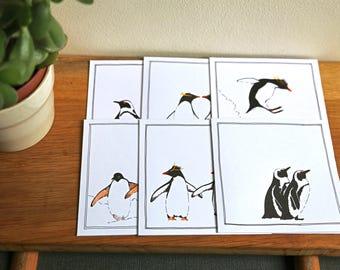 Cartes de pingouin - ensemble de six cartes carrées