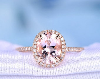 Natural Pink Morganite Engagement Ring 14k Rose Gold 7x9mm Oval Cut Gem Stone Classic Halo Diamond Wedding Ring Personalized for him/her