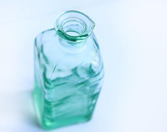 Vintage Machine Blown Pint Bottle with pour spout ~ Green Glass Oil Dressing Condiment Bottle ~ Rustic Primitive Farmhouse Kitchen Dining