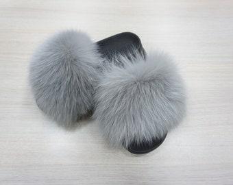 Fox Fur Slides, Fur Slippers F869