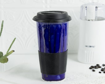 Ceramic Coffee Travel mug, cobalt with blue black silicon lid, handmade pottery, Kitchen gift for him / her, BlueRoomPottery