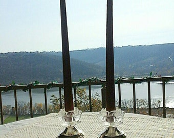 Set of 2 Vintage William Adams Silver Base Frosted Crystal Rose Candle Holders