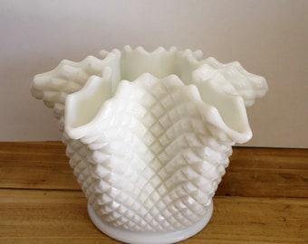 Westmoreland milk glass vintage english hobnail vase centerpiece, collectable, rare ruffled edge