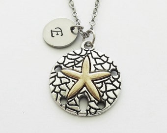 Starfish Necklace, Silver And Gold, Round Star Necklace, Sea, Ocean Jewelry, Silver Gold Jewelry Personalized, Monogram Hand Stamped Letter