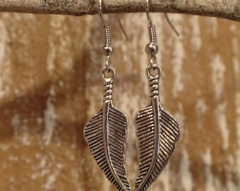 Small Curved Feather Earrings