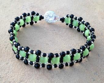 Bracelet - Lime Green, Black, and Silver - Metal Free