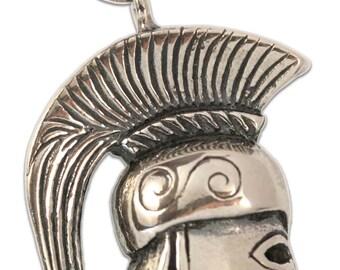 Greek Spartan-Leonidas Helmet Replica - Sterling Silver Pendant