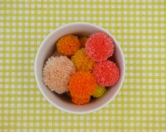 Yellow Orange Pom Poms, Handmade Pom Poms, Pom Poms for Crafting, Pom Pom Garland, Craft Pom Poms, Custom Pom Poms