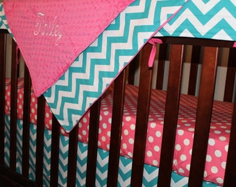 Hot Pink Dot, Turquoise Chevron, and Hot Pink Crib Bedding Ensemble