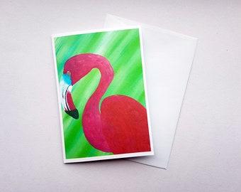 Flamingo Greetings Card, Flamingo Birthday Card, Blank Card, Birthday Card, Flamingo Artwork Card, Thank You Card, Spirit Animal Card, Card