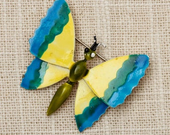 Colorful Butterfly Brooch Vintage Blue Yellow Bug Broach Vtg Pin 7P
