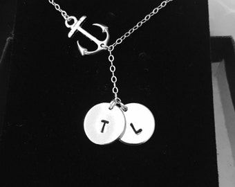two personalized disc necklace, mother daughter necklace,anchor necklace, silver or gold anchor necklace,mother's day jewelry gift for mom