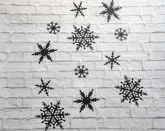 Snowflakes Vinyl Wall Decal Set of 12
