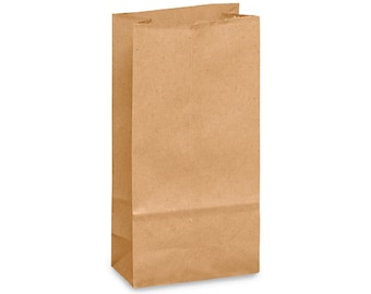 "25 Mini KRAFT Favor Bags or Lunch Bags . 3"" x 1 7⁄8"" x 5 7⁄8"""