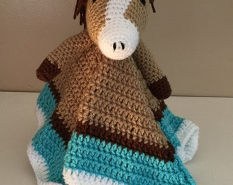 Crochet Horse Lovey Snuggle Security Travel Blanket Brown Beige Turquoise Boy Girl