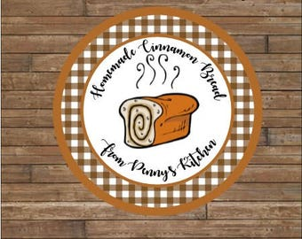 Personalized Bread Labels -Cinnamon Bread Labels - Homemade Bread Tags - Baked By
