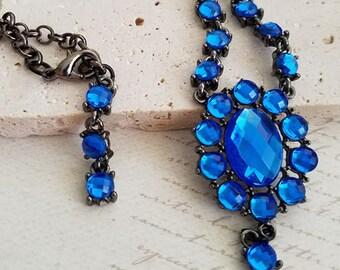 Royal Blue Rhinestone Necklace, Gunmetal necklace