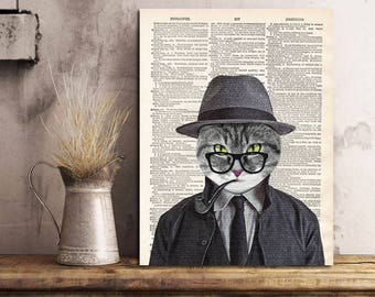 Mister Cat print, Cat Print, Cat, Cat Art, Cat Wall Art, Cat Artwork Print on Dictionary Page, Gift idea