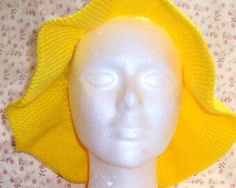 Sunny Yellow Floppy Sun Hat in Crochet