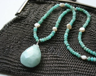 """Pendant Necklace, Green Amazonite and Freshwater Pearl, Gemstone, Boho Chic, Statement Necklace, Gift for Her, 16"""", StudioAtPennyLane"""