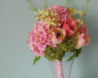 Hydrangea Bouquet, Silk Bouquet, Tulip Bouquet, Pink Bouquet, Round Bridal Bouquet, Silk Flowers, Wedding, Spring Bouquet,  Wedding Flowers